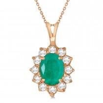 Emerald & Diamond Accented Pendant Necklace 14k Rose Gold (1.50ctw)