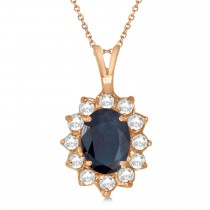 Blue Sapphire & Diamond Accented Pendant 14k Rose Gold (1.70ctw)