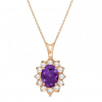 Amethyst & Diamond Accented Pendant Necklace 14k Rose Gold (1.70ctw)