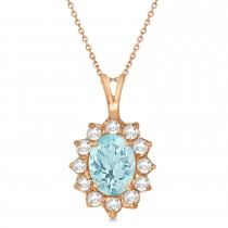 Aquamarine & Diamond Accented Pendant Necklace 14k Rose Gold (1.70ctw)