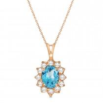 Blue Topaz & Diamond Accented Pendant Necklace 14k Rose Gold (1.70ctw)
