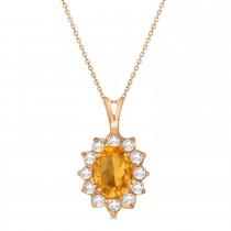 Citrine & Diamond Accented Pendant Necklace 14k Rose Gold (1.70ctw)