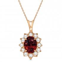 Garnet & Diamond Accented Pendant Necklace 14k Rose Gold (1.70ctw)