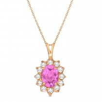 Pink Sapphire & Diamond Accented Pendant Necklace 14k Rose Gold (1.70ctw)