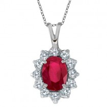 Ruby & Diamond Accented Pendant Necklace 14k White Gold (1.80ctw)