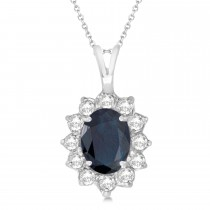 Blue Sapphire & Diamond Accented Pendant 14k White Gold (1.70ctw)