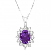 Amethyst & Diamond Accented Pendant Necklace 14k White Gold (1.70ctw)