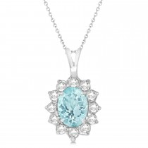 Aquamarine & Diamond Accented Pendant Necklace 14k White Gold (1.70ctw)