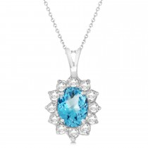 Blue Topaz & Diamond Accented Pendant Necklace 14k White Gold (1.70ctw)
