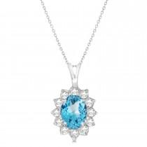 Blue Topaz & Diamond Accented Pendant Necklace 14k White Gold (1.70ctw)