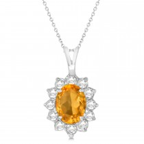 Citrine & Diamond Accented Pendant Necklace 14k White Gold (1.70ctw)