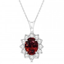 Garnet & Diamond Accented Pendant Necklace 14k White Gold (1.70ctw)