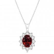 Garnet & Diamond Accented Pendant Necklace 14k White Gold (1.70ctw)