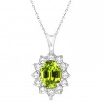 Peridot & Diamond Accented Pendant Necklace 14k White Gold (1.70ctw)