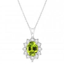 Peridot & Diamond Accented Pendant Necklace 14k White Gold (1.70ctw)
