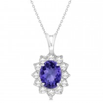 Tanzanite & Diamond Accented Pendant Necklace 14k White Gold (1.70ctw)