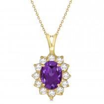 Amethyst & Diamond Accented Pendant Necklace 14k Yellow Gold (1.70ctw)