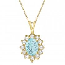 Aquamarine & Diamond Accented Pendant Necklace 14k Yellow Gold (1.70ctw)