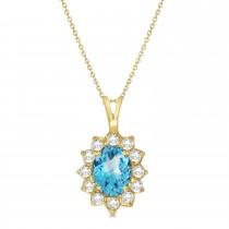 Blue Topaz & Diamond Accented Pendant Necklace 14k Yellow Gold (1.70ctw)