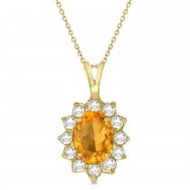 Citrine & Diamond Accented Pendant Necklace 14k Yellow Gold (1.70ctw)