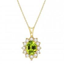 Peridot & Diamond Accented Pendant Necklace 14k Yellow Gold (1.70ctw)
