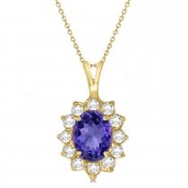 Tanzanite & Diamond Accented Pendant Necklace 14k Yellow Gold (1.70ctw)
