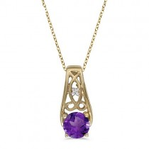 Antique Style Amethyst and Diamond Pendant Necklace 14k Yellow Gold