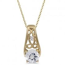 Antique Style White Topaz & Diamond Pendant Necklace 14k Yellow Gold