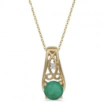 Antique Style Emerald and Diamond Pendant Necklace 14k Yellow Gold