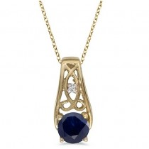 Antique Style Blue Sapphire & Diamond Pendant Necklace 14k Yellow Gold