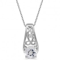 Antique Style White Topaz and Diamond Pendant Necklace 14k White Gold