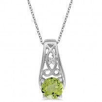 Antique Style Peridot and Diamond Pendant Necklace 14k White Gold
