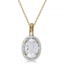 Oval White Topaz & Diamond Pendant Necklace 14k Yellow Gold (0.60ctw)