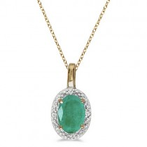 Halo Oval Emerald & Diamond Pendant Necklace 14k Yellow Gold (0.45ctw)