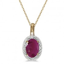 Halo Oval Ruby & Diamond Pendant Necklace 14k Yellow Gold (0.60ctw)