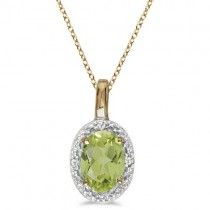 Halo Oval Peridot & Diamond Pendant Necklace 14k Yellow Gold (0.55ctw)