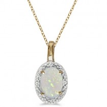 Halo Oval Opal & Diamond Pendant Necklace 14k Yellow Gold (0.55ctw)