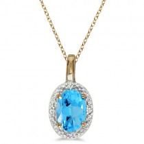 Oval Blue Topaz & Diamond Pendant Necklace 14k Yellow Gold (0.59ctw)