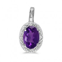 Oval Amethyst & Diamond Pendant Necklace 14k White Gold (0.45ctw)