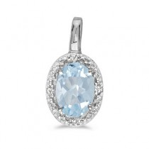 Oval Aquamarine & Diamond Pendant Necklace 14k White Gold (0.40ctw)