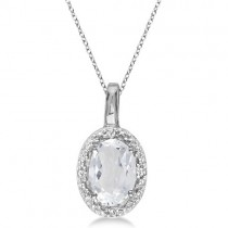 Oval White Topaz & Diamond Pendant Necklace 14k White Gold (0.60ctw)