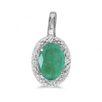 Oval Emerald & Diamond Pendant Necklace 14k White Gold (0.45ctw)