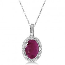 Oval Ruby & Diamond Pendant Necklace 14k White Gold (0.60ctw)