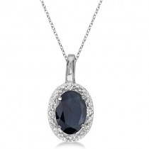 Oval Blue Sapphire & Diamond Pendant Necklace 14k White Gold (0.55ct)