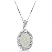 Oval Opal & Diamond Pendant Necklace 14k White Gold (0.55ctw)