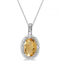 Oval Citrine & Diamond Pendant Necklace 14k White Gold (0.47tcw)