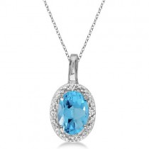 Oval Blue Topaz & Diamond Pendant Necklace 14k White Gold (0.59ctw)
