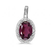 Oval Garnet & Diamond Pendant Necklace 14k White Gold (0.55ctw)