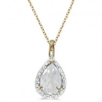 Pear Shaped White Topaz Pendant Necklace 14k Yellow Gold (0.85ct)