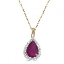 Pear Shaped Ruby Pendant Necklace 14k Yellow Gold (0.75ct)